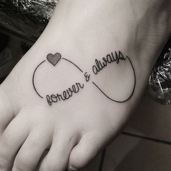 quotes infinity tattoo on foot for girls