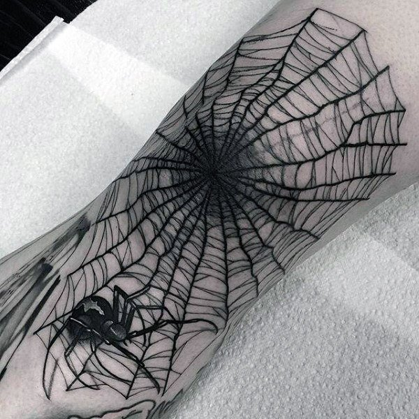 Solid Spider Web Hand Tattoos design