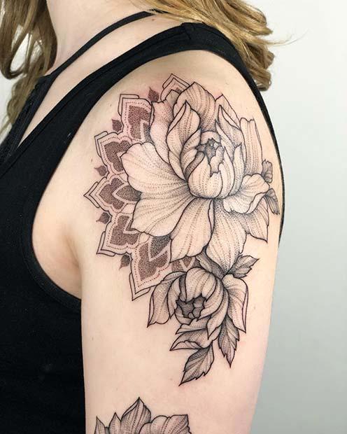 elegant shoulder tattoos for ladies