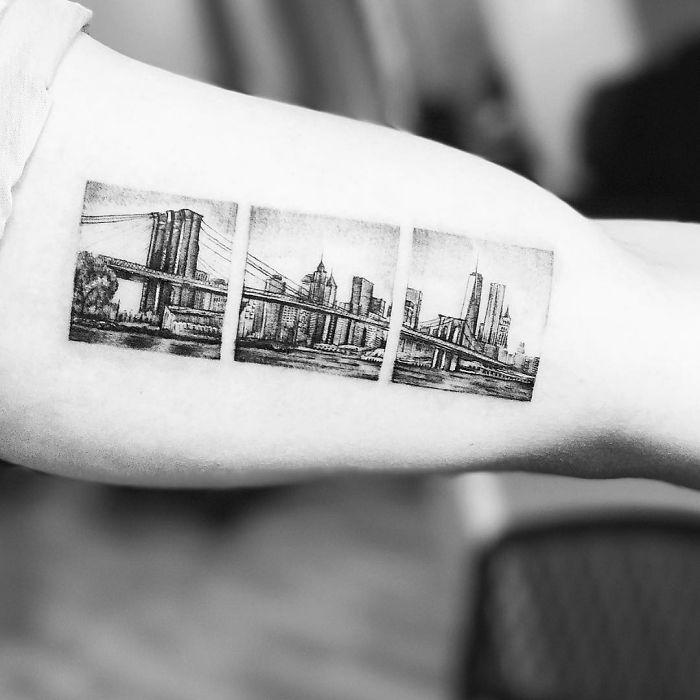 unique travel  arm tattoo inspiration design