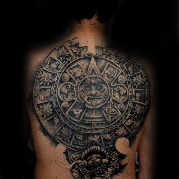 old stone tattoo design on men back