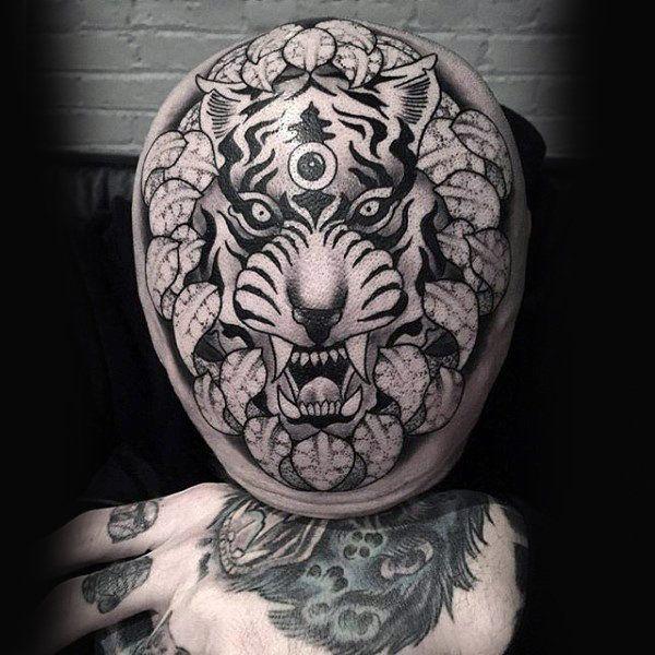 tiger bald head man tattoo images