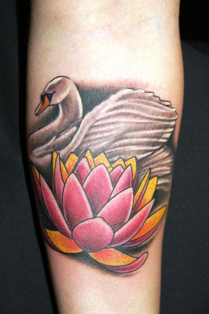 arm colour swan flower tattoo images