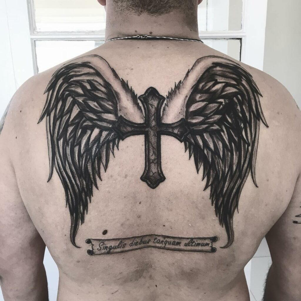 cross wing  guardian angel design for men