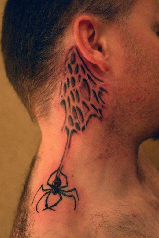 men spider web tattoo on neck