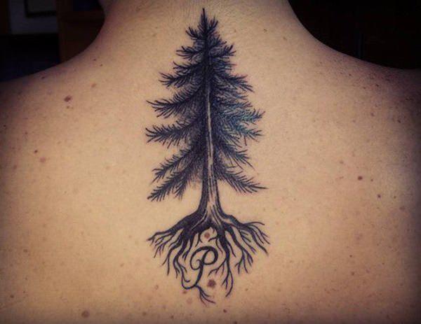 tree  tattoo on women neck design ideas