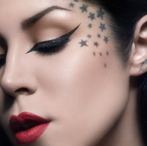 stars face tattoos female small