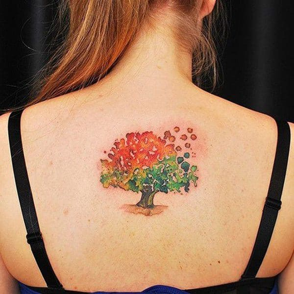 Colored Tree Back Tattoo for women design ideas images