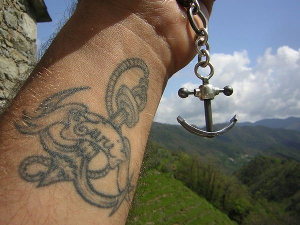 wrist men anchor in water tattoo idea