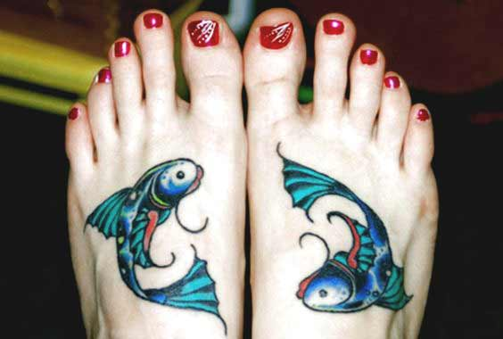 fish ladies tattoo ideas on foot