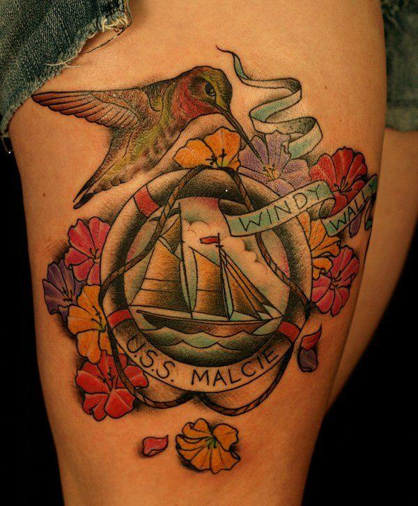 leg hummingbird tattoos for females design ideas