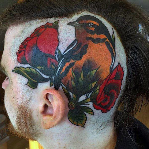 animal head tattoo on haed for guys