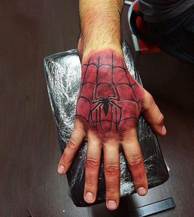 hand spider man tattoo design