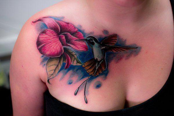pretty chest colour bird tattoos for ladies