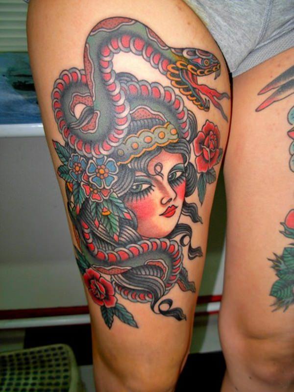 leg multi colour medusa versace tattoo design
