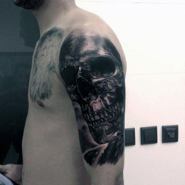 skull lower arm tattoos for male design