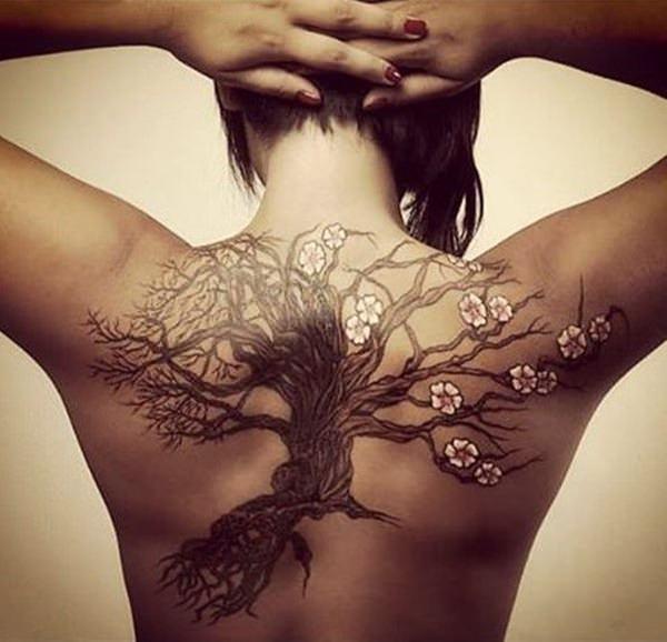 temporary women's cherry blossom tattoos design idea
