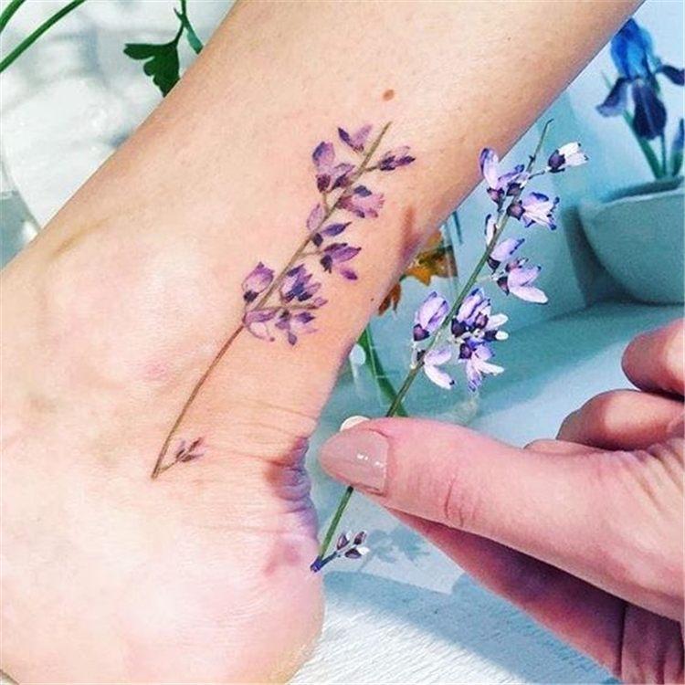 leg purple flower tattoo for women