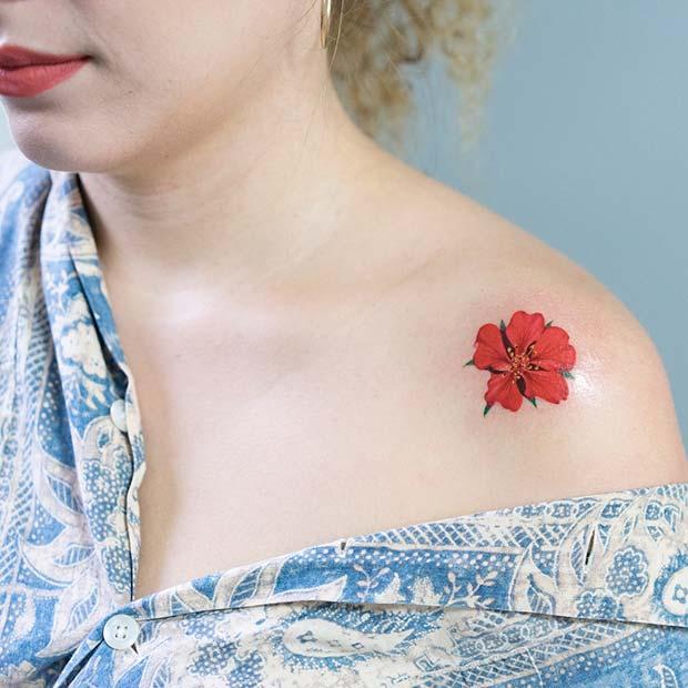 one flower womens flower shoulder tattoos