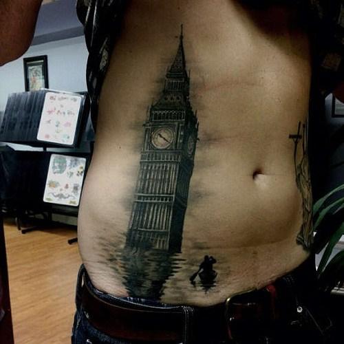 big ben tattoo designs on belly guys men