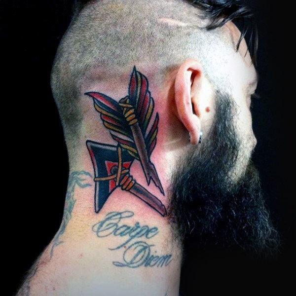 arrow back head tattoos for guys design