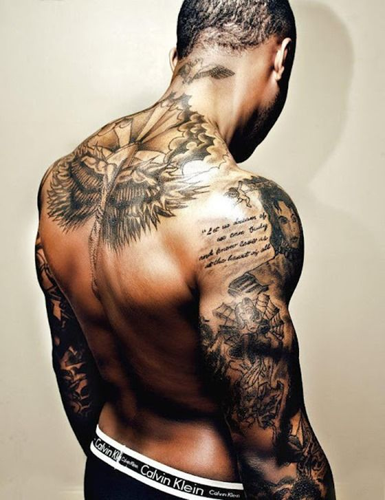 men back angel wing memorial tattoos