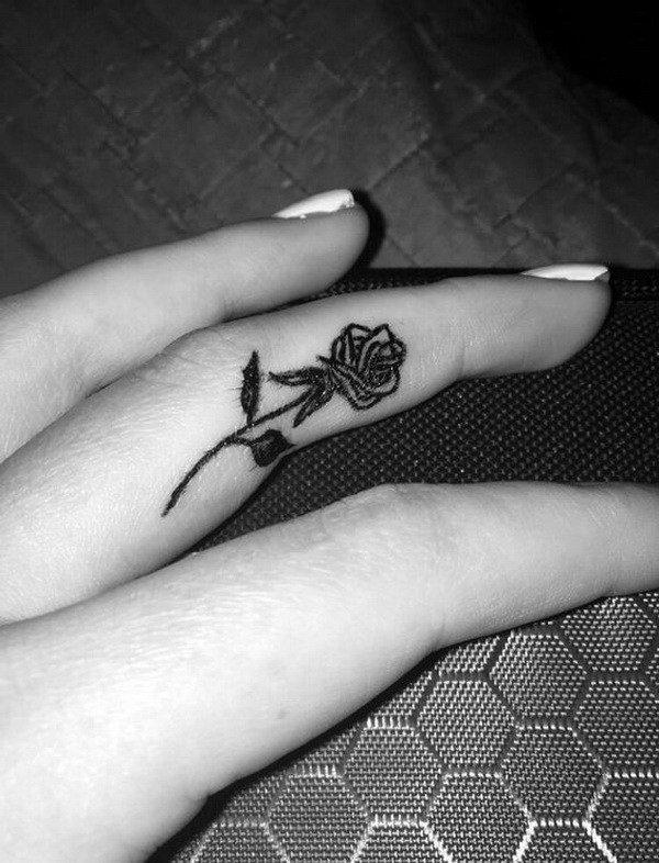 cool rose finger tattoos for females