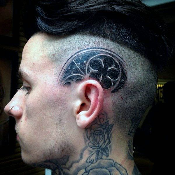 trendy head tattoo with hair