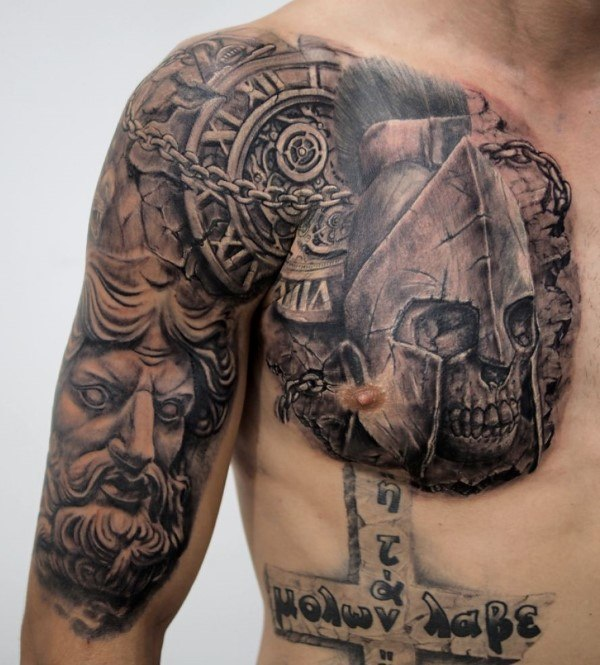 shoulder chest ancient time tattoo design for men ideas