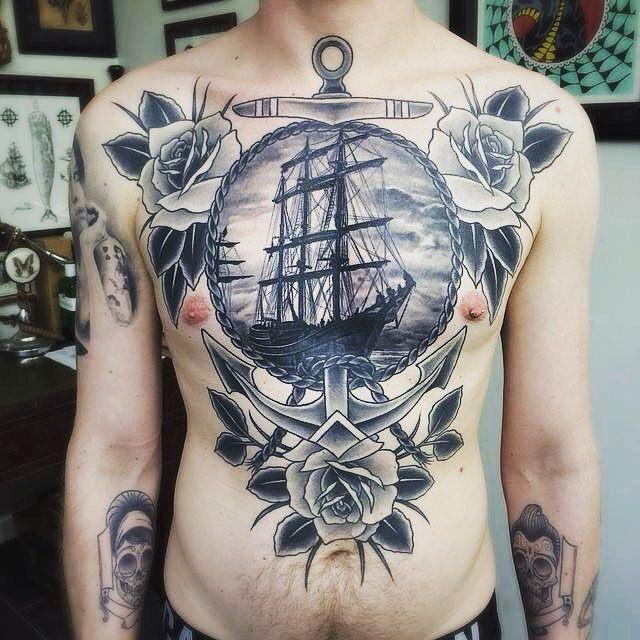 Amazing ship men abs tattoo design ideas
