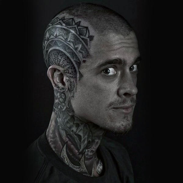temporary head tattoos mandala design for guys