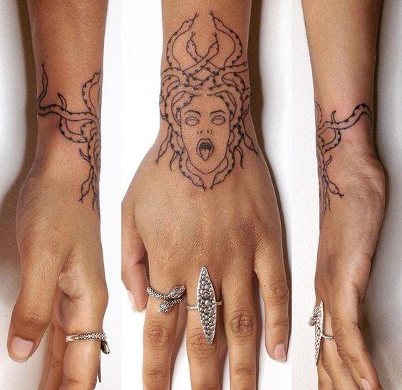 wrist mini medusa tattoo for girls images