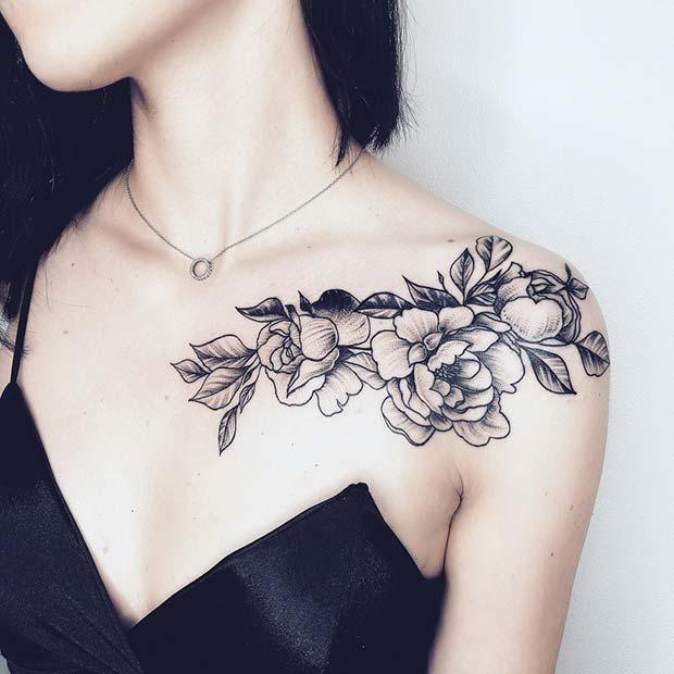 rose female front shoulder tattoos