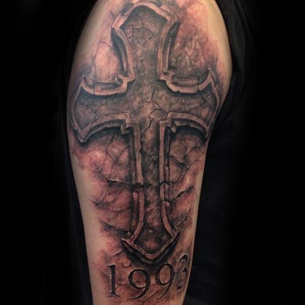 large cross tattoo designs on arm