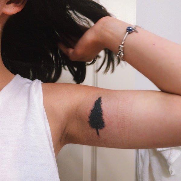 women small pine tree tattoo images