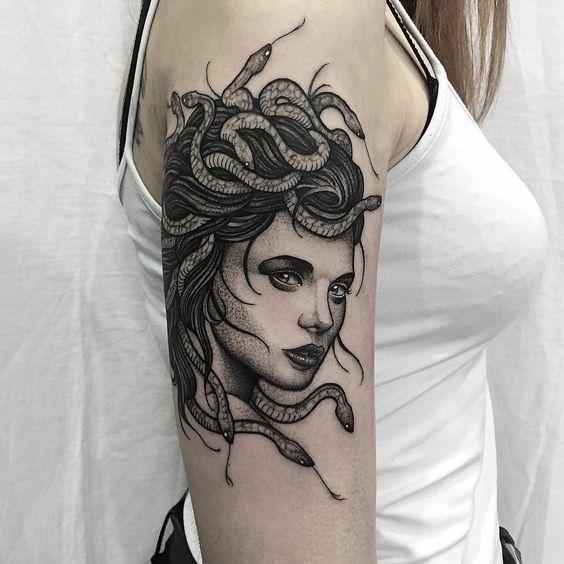 medusa portrait tattoo on arm