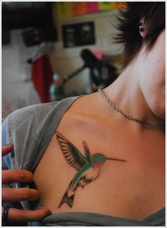 beautiful bird tattoos for ladies and women on chest