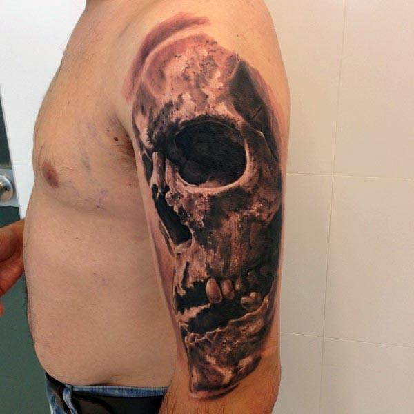 skull arm tattoos for men half sleeves