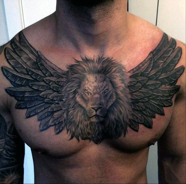 guardian angel tattoo design on men chest