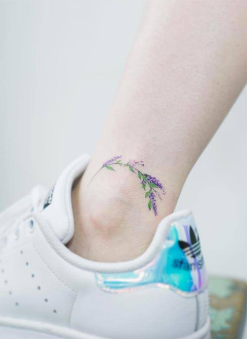 flower ankle tattoo ideas for women