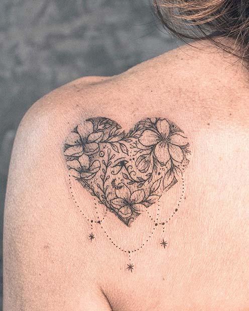 heart back shoulder tattoos for females images