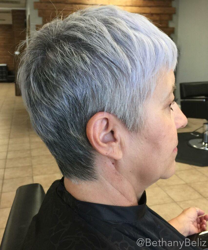 short haircut gray hair
