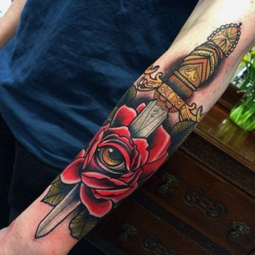 dagger and rose tattoo for men ideas