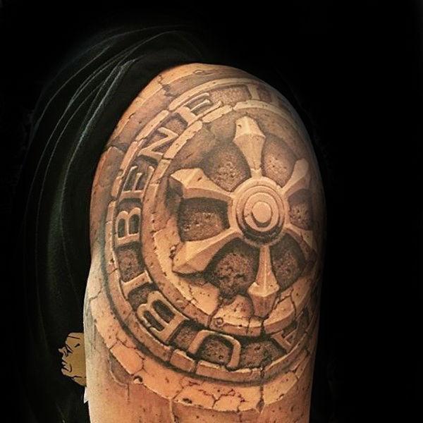 shoulder stone tattoo design ideas for men