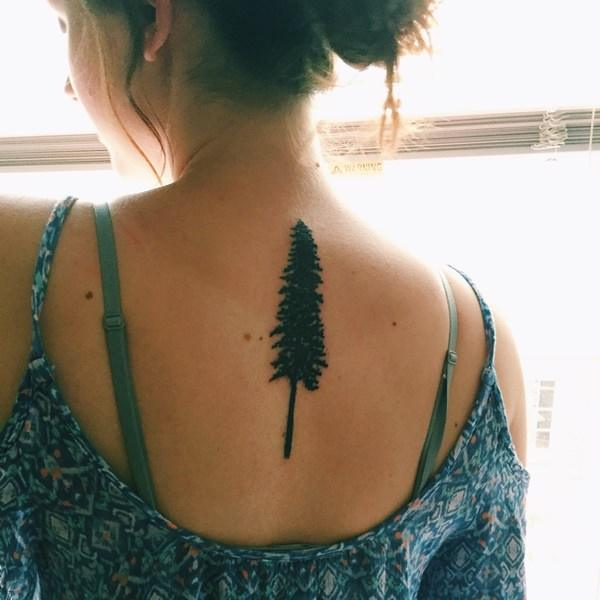 Simple and Easy Pine Tree Tattoo on back