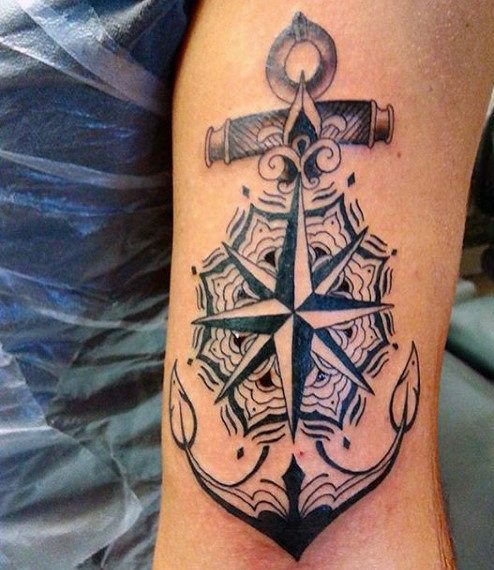 tattoo compass and anchor