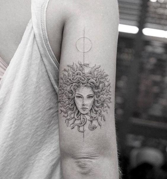arm back medusa tribal tattoo ideas design