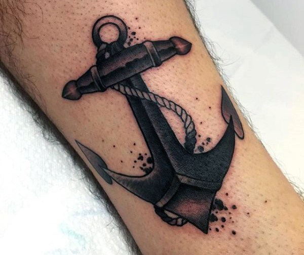 men new school anchor tattoo on arm design