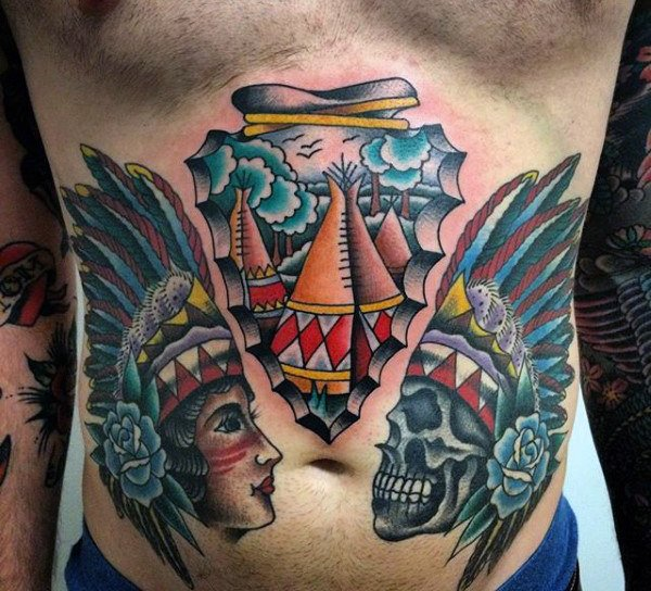 indians male stomach tattoo ideas