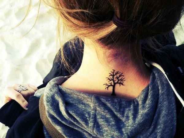 Best Tiny tree tattoo ideas on neck